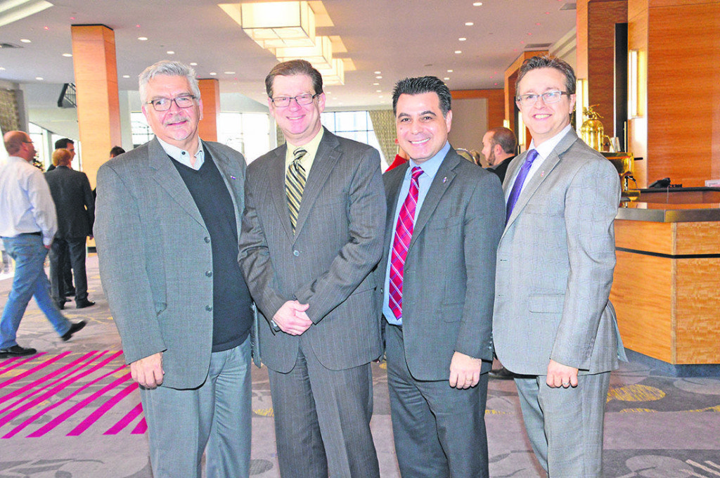 Left, Laval city councillor Raynald Adams, development consultant Robert Libman, Laval executive-committee vice-president David De Cotis, and Laval city councillor Paolo Galati shared thoughts during the real estate development forum held by the City of Laval on Nov. 24.