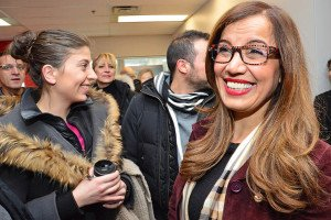 Vimy Liberal MP Eva Nassif, right, welcomed guests to her new constituency office on Laval's Le Corbusier Blvd. on Feb. 20.