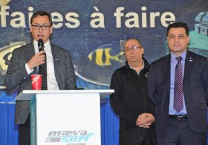 Seen here with Cosmodôme head Marc De Blois (centre) and Laval executive-committee vice-president David De Cotis, STL executive-director Guy Picard many visitors to Laval's leading attractions are already using public transit.