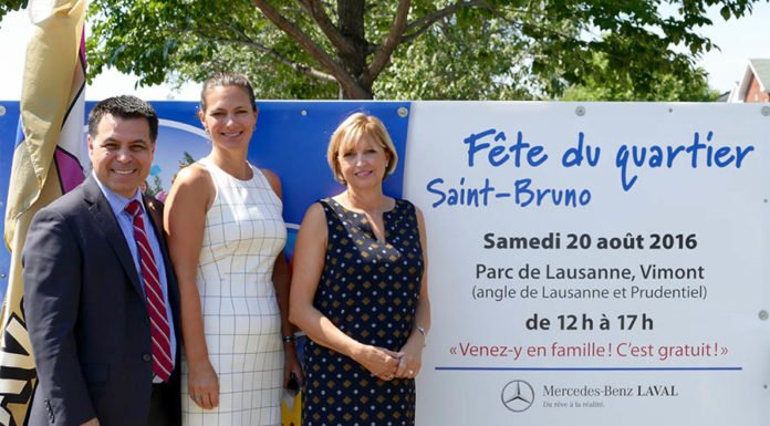 David De Cotis Laval executive-committee vice-president, Mercedes-Benz Laval owner and vice-president Louise Leblanc, and Lise Lalande, executive-director of the Société Alzheimer Laval.