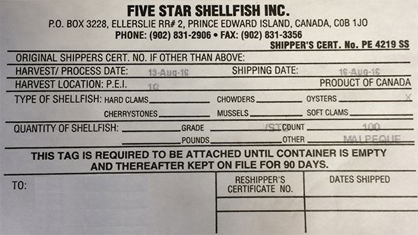 Five Star Shellfish Inc. brand oysters recalled due to Salmonella