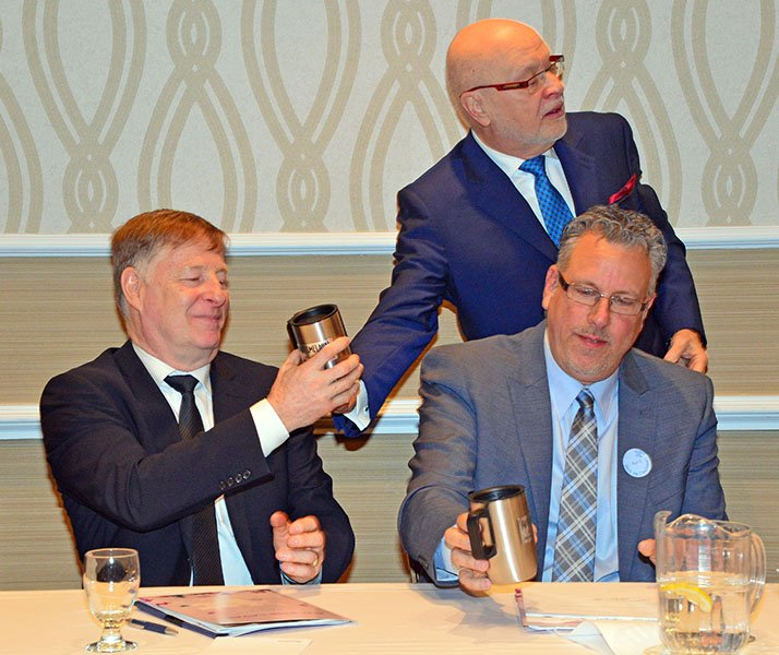 Laval Mayor Marc Demers presented with Autism Awareness Month souvenir