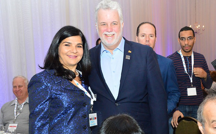 Laval city councillor for Chomedey Aglaia Revelakis with Quebec Premier Philippe Couillard