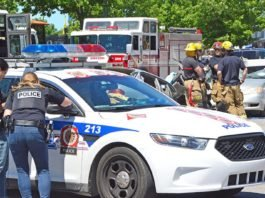 First responders staged a demonstration on the dangers of speeding.