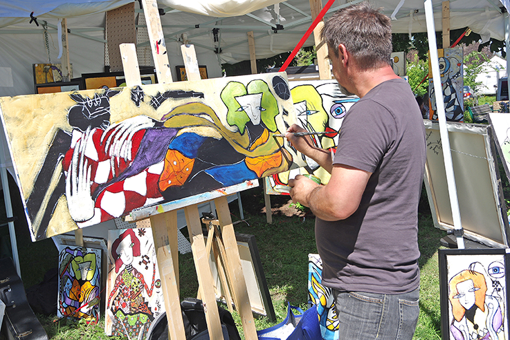 Abstract painter Claude Lepine was one of the 90 artists who participated in the 22nd annual Sainte-Rose Art Symposium from July 27 – 30.