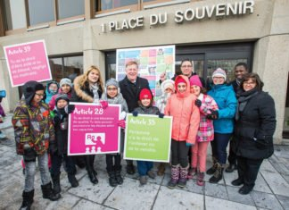 Around 1,000 children gathered outside city hall for Nov. 20 event