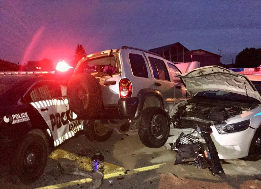 LPD vehicles damaged during car chase in Vimont