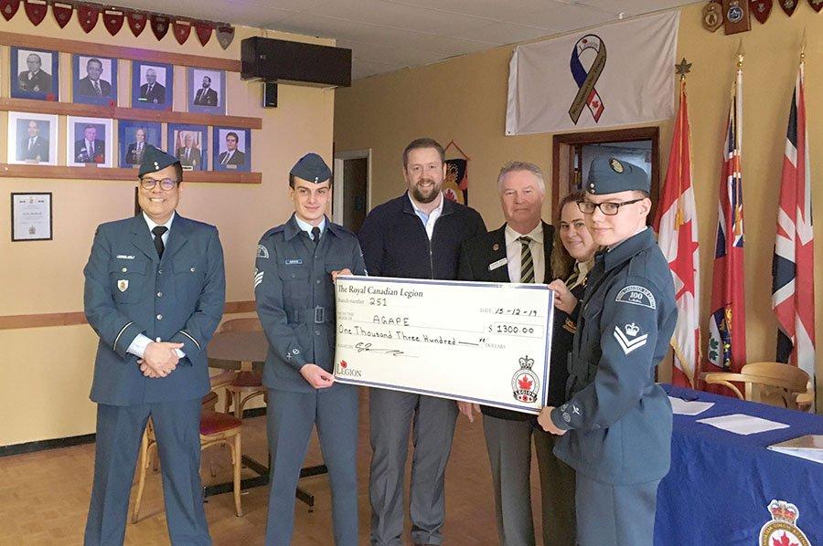 Royal Canadian Legion donates to AGAPE