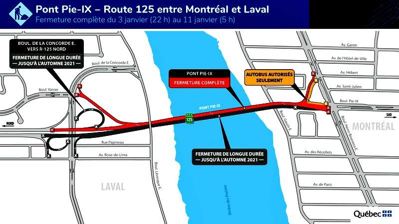 Pie-IX Bridge to shut from Jan. 3-11 for steel work