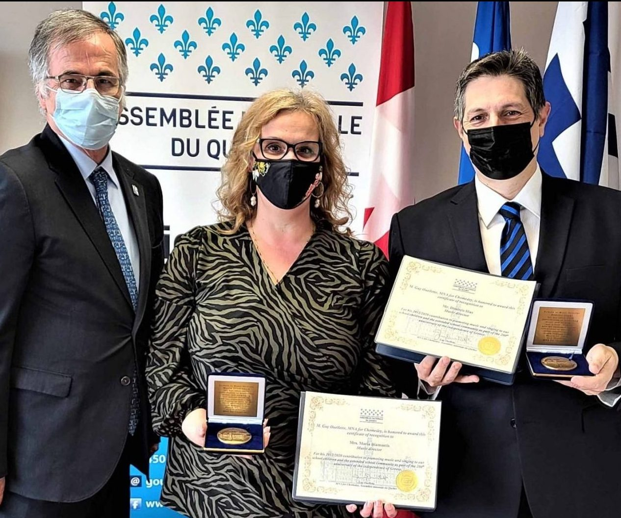 Maria Diamantis and Dimitris Ilias presented with National Assembly Medals