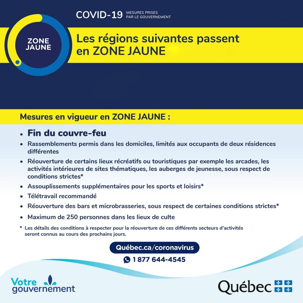 Laval is now in a yellow zone